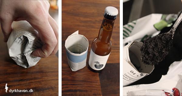 For at lave potter af avispapir til frø og spirer, skal bunden foldes efter rulningen, og så er potten klar til at blive fyldt med såjord - Dyrkhaven.dk gør det nemt at dyrke dine have
